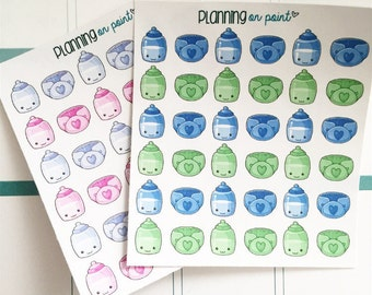Baby Bottle and Diaper Planner Stickers!