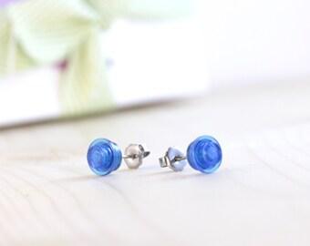 Blue earrings - LEGO® earrings - Blue post earrings - Blue stud earrings - Hypoallergenic earrings - Something blue geek wedding earrings