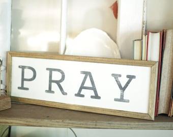 "Pray 12"" Handpainted Wood Sign"