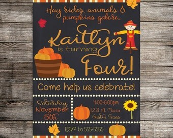 Pumpkin Invitation, Pumpkin Patch Birthday Invitation, Fall/Autumn Birthday Invitation, Childs Birthday, Fall Birthday- Printable Invitation