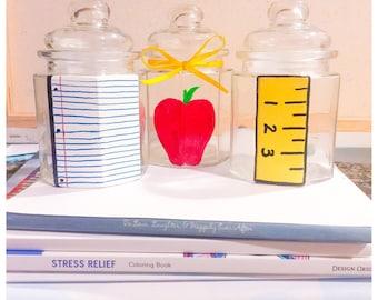 Teacher Gift, Back to School, Hand Painted Glass Storage Jars, Teacher Organization, Desk Organization