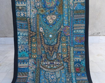 Antique Mirror Work Tapestry - Banjara Patchwork Collectible Indian Wall Hanging Decor 22