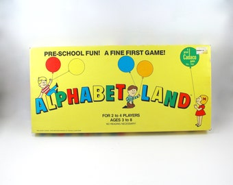 Alphabetland board game from 1984 - vintage 1980s, Cadaco, retro board games, games for preschoolers, learning alphabet letters, educational