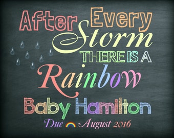 Rainbow baby,Pregnancy announcement, We're expecting,Photo prop, digital sign,rainbow baby, printable,facebook, social media 8x10 or 16x20