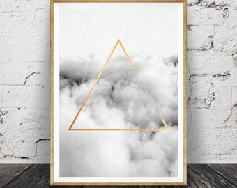 Minimalist Geometric Wall Art, Cloud Print, Gold Triangle, Graphic Design, Printable Poster, ...