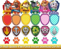 24 Paw Patrol Badge Clip Art Images - High quality png file - instant download