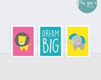 "Girl's Nursery   Bedroom Children's Art Print Pink Turqoiuse Yellow 5"" x 7"" Three Pack   Circus Safari"