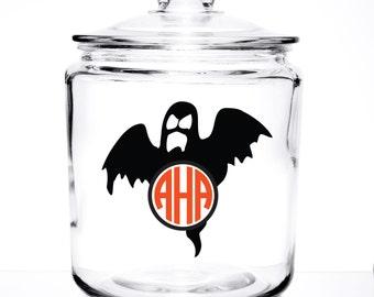 Monogrammed Glass Cookie/Pet Treat  - Halloween Design