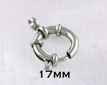 2 x Stainless Steel Large 17mm Bolt Spring Ring Clasps