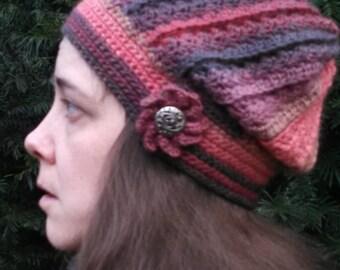 Crocheted Lava Wool Slouchy Hat