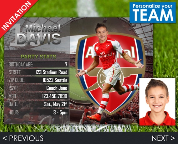 Soccer Invitation - Arsenal Invite - Football Birthday Party - Digital Invite with customizable face and team - Choose your team!