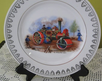 "Vintage decorative plate ""Steam Roller"" / Vintage Decorative plate ""Steamroller"""