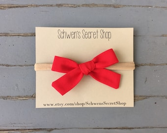Red baby girl bow, hand tied bow, fabric baby bow, baby girl headband, nylon headband, infant headband, baby headband, baby hair bow