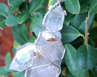 Natural Skeletal Crystal Quartz point wire wrapped pendant 12g