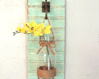 Rustic sconce, wall vase, rustic wall sconce, rustic wall vase, farmhouse sconce, rustic decor, farmhouse decor, cottage decor,