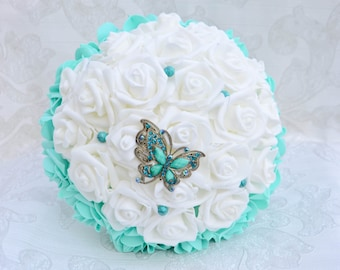 Wedding Bouquet, White and Turquoise Bouquet, Bridal  Bouquet, brooch bouquet, bridesmaid bouquet.