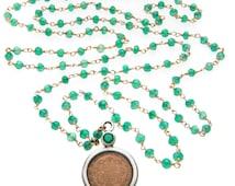 Shri Yantra with Green Onyx Necklace