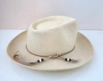 Vintage Cream Wool Cowboy Hat with Leather & Feather Details