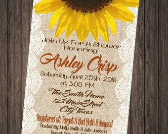 Burlap & Lace Sunflower Shabby Chic Bridal Shower Invitation