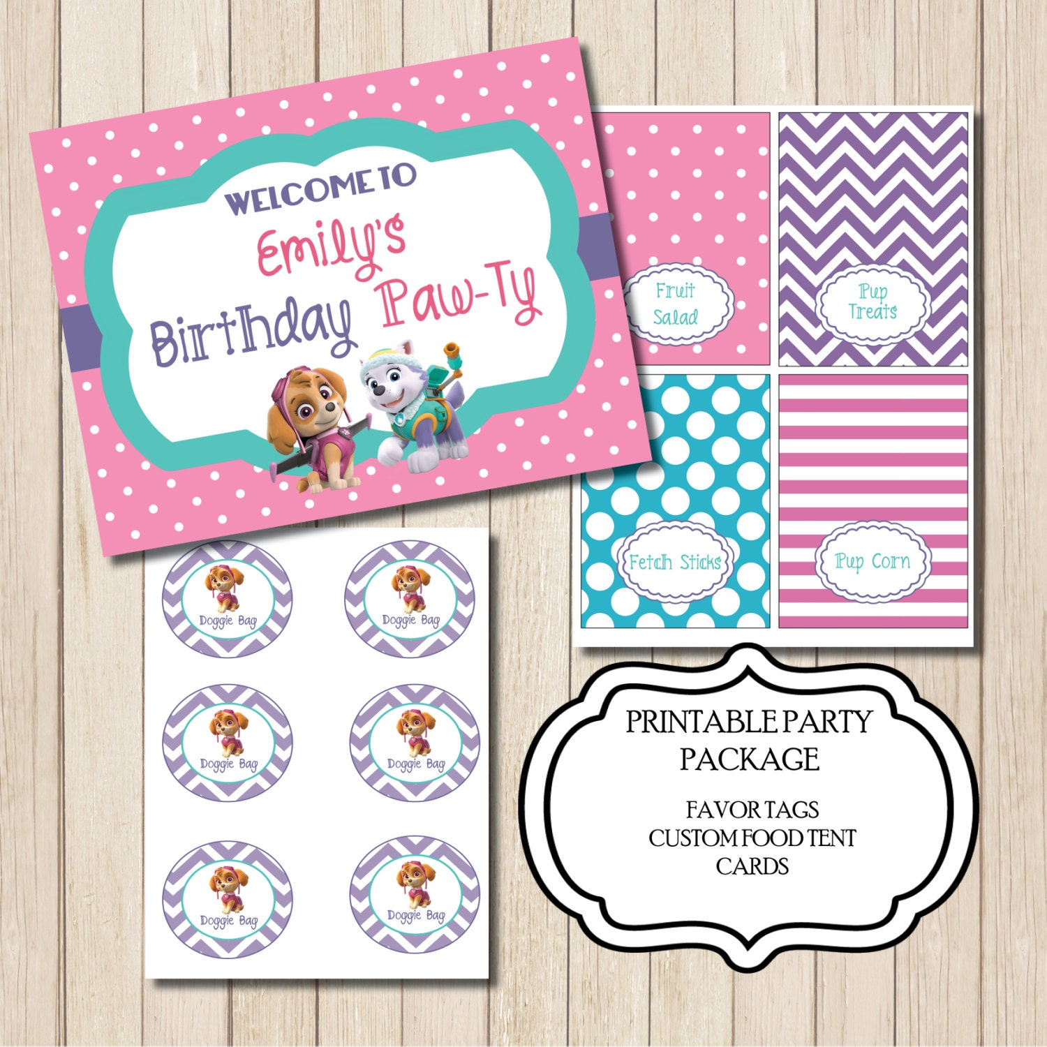 Paw Patrol Birthday Party Package PRINTABLE Favor Tags Food