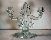 Elegant Glass Double Light Candlestick Holder with Plumes and Embossed Laurel Leaves 9 inch
