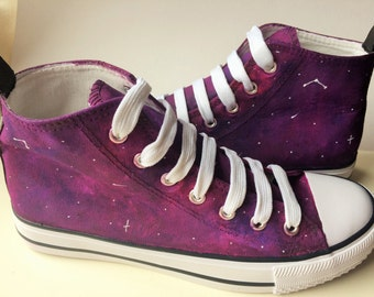 Hand painted Galaxy shoes, Converse style, Stars, Purple, Hand painted, Custom, Constellation, Ready to ship - UK SIZE 5