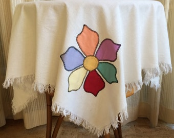 Vintage Appliqued Tablecloth