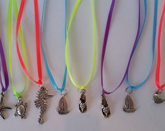 10 pc Beach Sea Party Favor Necklaces Summer Theme Charms
