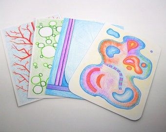 abstract and coloured, front and rear writable, unlaminiert, each card of set of 4 postcards, a unique