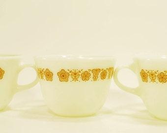Vintage Pyrex Butterfly Gold Mugs - Set of 3