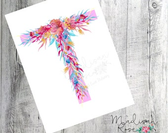 Bright colours watercolour flower wall art, poster,initial T graphic art illustration print, pink, blue, yellow