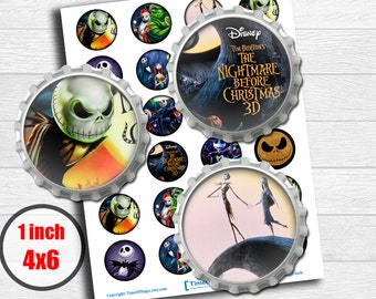 """Nightmare before Christmas Digital Collage Sheet Disney 1"""" inch 25mm Bottlecap Printable Download for pendants magnets party bottle cup"""