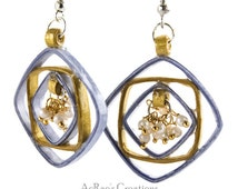 Paper Quilling earrings-Light purple and gold