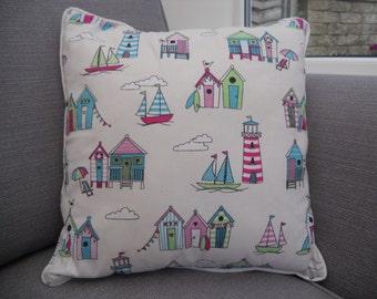 Beach Hut Themed Cushion