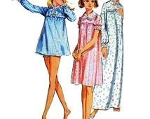 1971 McCall's 3035 Misses' Yoked Nightgown with Front Neck Vent, Short or Long Sleeves and Panties Sewing Pattern Size 8-10 (31.5-32.5 bust)