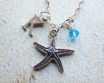 Starfish Necklace, Personalized, Starfish Charm, Beach, Initial Charm, Birth Stone, Ocean, Summer, Friend, Birthday, Gift, Vacation