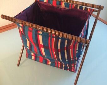 Vintage 1960s patterned knitting basket