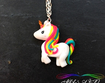 Kawaii rainbow unicorn necklace - Pendant hand made out of polymer clay / fimo - Fantasy art style jewelry