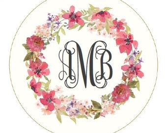 Floral Wreath Monogram/ Custom - Stethoscope ID Tag - Badge Reel - Lanyard