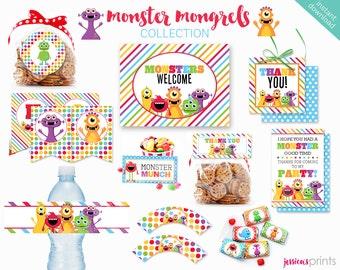 Instant Download Monster Mongrels Printable Party Collection, Monster Party Printables, Monster Party Printable, Fun Monsters Party Set