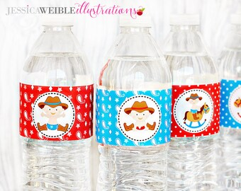 Cowboy Baby Printable Water Bottle Wrappers, Cowboy Bottle Labels, Instant Download, Baby Shower Printable Party Wrappers