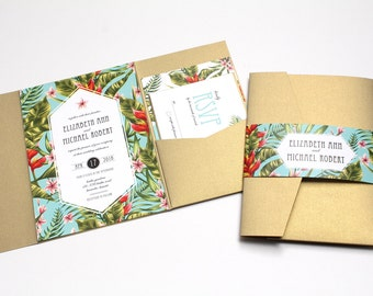 Tropical Wedding Invitation, Destination Wedding Invitation, Beach Wedding Invitations, Pocketfold Wedding Invitation, palms - DEPOSIT