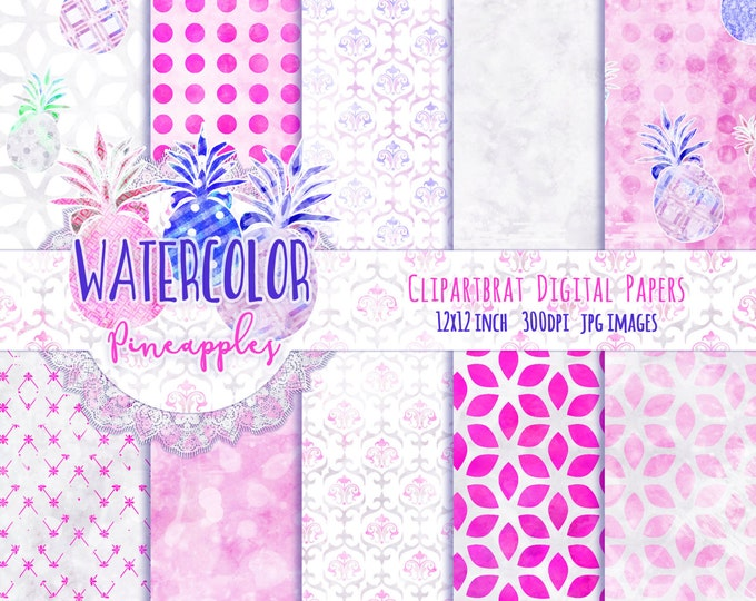 PINEAPPLE DIGITAL PAPER Pack Commercial Use Seamless Digital Paper Tropical Pineapple Blue & Pink Watercolour Paper Digital Backgrounds