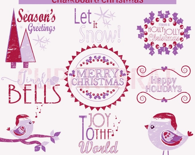 CHRISTMAS CLIPART Commercial Use Clip Art Christmas Chalkboard Word Art Trees Bird Holiday Digital Clip Art Purple Pink Chalk Board Clipart