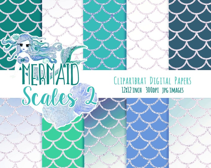 MERMAID DIGITAL PAPER Commercial Use Digital Backgrounds Teal Blue Blush Pink Metallic Girly Fish Scales Printable Digital Scrapbook Paper