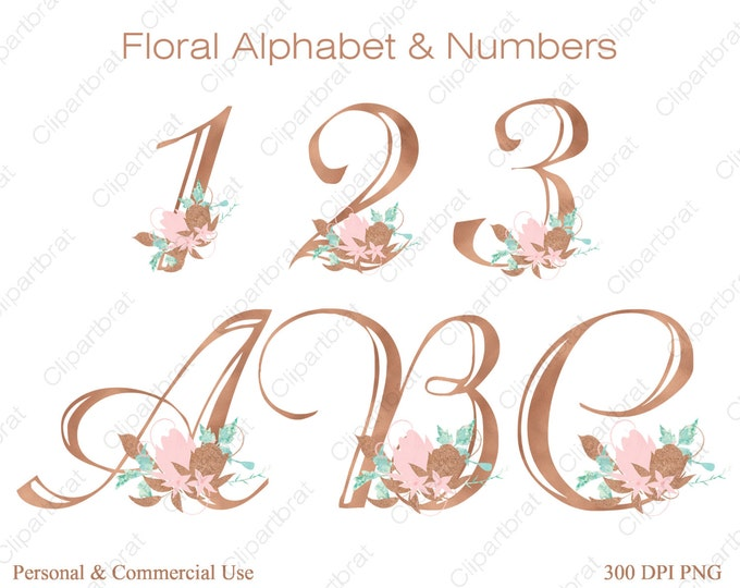 ROSE GOLD ALPHABET Clipart Commercial Use Clipart Wedding Monogram Letters Blush Pink Watercolor Flower Alphabet Fancy Floral Numbers Letter