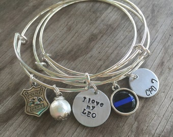 Personalized LEO Bangle Stack