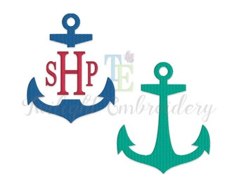 Set of 2 Anchor Fill Stitch Machine Embroidery Designs, Split Anchor Machine Embroidery Design, Nautical Machine Embroidery Designs 0007