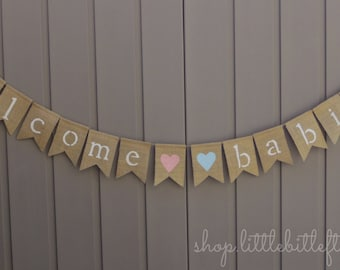 Welcome Babies Banner, Welcome Baby Sign, Custom Baby Banner, Baby Shower Decor, Baby Bunting Burlap, Gold Baby Shower, Twins Banner Sign
