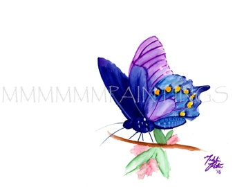Blue Butterfly watercolor print